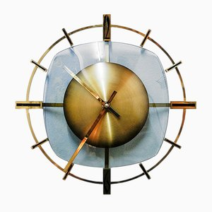 German Brass and Colored Glass Wall Clock from Diehl, 1960s