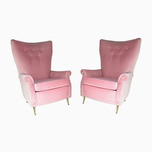 Italian Velvet Armchairs from ISA Bergamo, 1950s, Set of 2