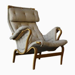 Beech and Leather Lounge Chair by Bruno Mathsson for Dux, 1960s