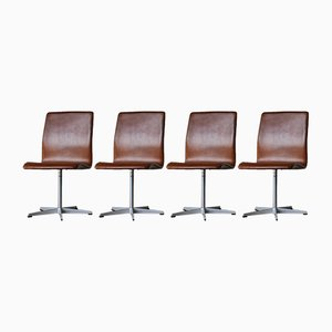 Dänische Vintage Oxford Esszimmerstühle von Arne Jacobsen für Fritz Hansen, 1960er, 4er Set