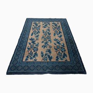 Antiker chinesischer Teppich aus Baumwolle & Wolle, 1800er