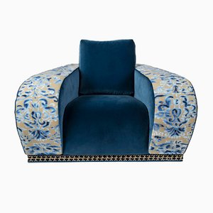 Blue Velvet Firenze Eticaliving Lounge Chair by Slow+Fashion+Design for VGnewtrend