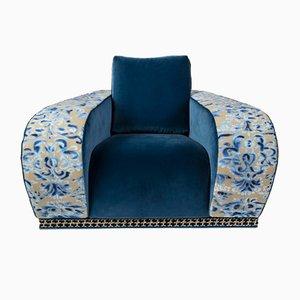 Fauteuil Firenze Eticaliving en Velours Bleu par Slow+Fashion+Design pour VGnewtrend