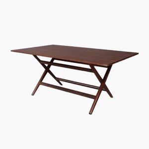 Mid-Century Italian Walnut Foldable Trestle Table by Franco Albini, 1950s