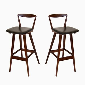 Danish Rosewood Bar Stools by Henry Rosengren Hansen, Set of 2