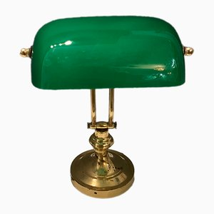 Italian Brass and Green Opaline Glass Table Lamp, 1960s