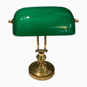 Lampe de Bureau en Laiton et Verre Opalin Vert, Italie, 1960s