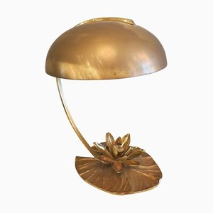 Vintage French Bronze Lily Table Lamp from Maison Charles
