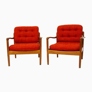 Danish Teak Antimott Lounge Chairs from Knoll, 1960s, Set of 2