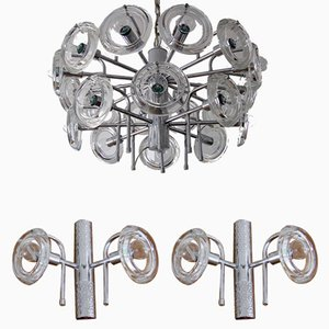 Italian Chandeliers and Sconce Set, 1970s