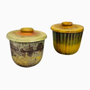 Dänische Vintage Keramikschalen mit Deckel von Igne-Lise Koefoed, 1950er