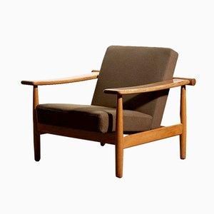 Danish Fabric and Oak Lounge Chair from Getama, 1960s