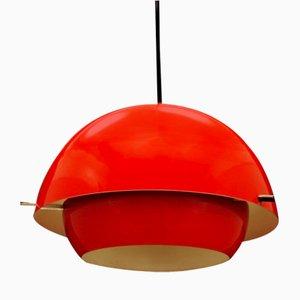Dänische Rote Vintage Plastik Deckenlampe, 1970er