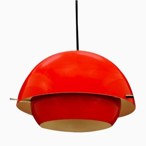 Vintage Danish Red Plastic Ceiling Lamp, 1970s