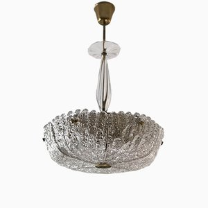 Brass and Glass Embassy Chandelier by Carl Fagerlund for Orrefors, 1960s