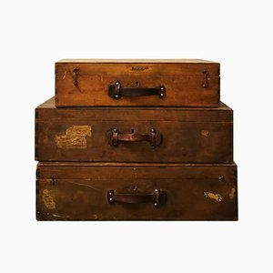 Industrial German Wood Suitcases with Leather Handles, 1930s, Set of 3