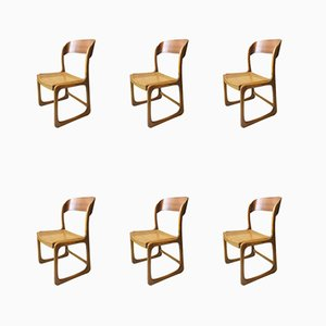 French Elm Sleigh Chairs from Baumann, 1960s, Set of 6