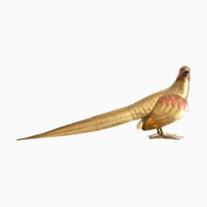 Uccello giocattolo grande vintage in ottone e rame di Bustamante