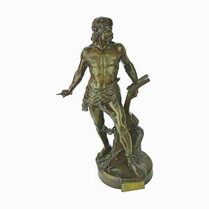 Französische Gallische Bronze Skulptur von EA Boisseau, 1884