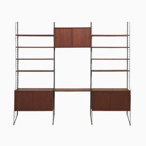 Large Teak Wall System by Nisse Strinning for String, 1960s