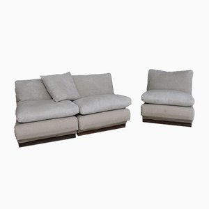 Vintage Cream Modular Lounge Chairs, Set of 3