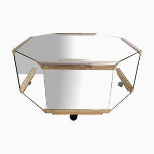 Tavolino da caffè in ottone e vetro di Galotti & Radice, Italia, anni '80