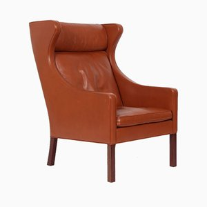 Vintage BM 2204 Leather Wing Chair by Børge Mogensen for Fredericia