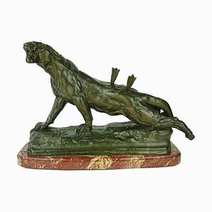 French Bronze Wounded Lioness Sculpture by Charles Valton, 1880