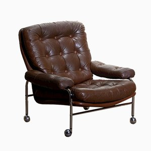 Chrome & Leather Lounge Chair from Scapa Rydaholm, 1970s
