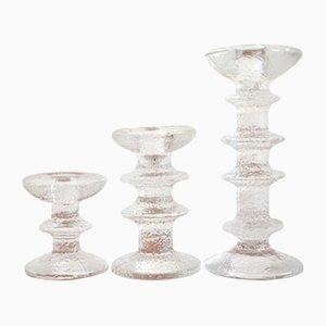 Vintage Kerzenhalter aus Glas von Timo Sarpaneva für Iitalla, 1970er, 3er Set