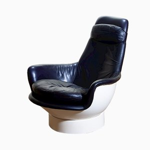 Space Age Fiberglass and Leather Lounge Tina Chair by Peem Oy, 1970s