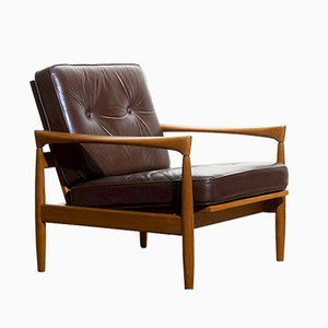 Leather and Oak Kolding Side Chair by Erik Wörtz for Broderna Andersson, 1960s