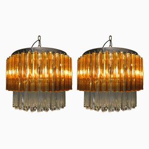 Vintage Murano Glass Chandeliers by Zero Quattro, Set of 2