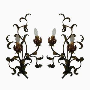 Italienische Wandlampen aus bronziertem Metall, 1970er, 2er Set