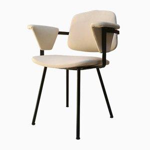 Chaise de Bureau Mid-Century en Métal et Simili Cuir Blanc, 1960s