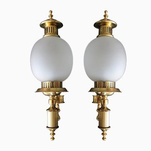 Art Deco Brass and Frosted Glass Sconces, 1960s, Set of 2