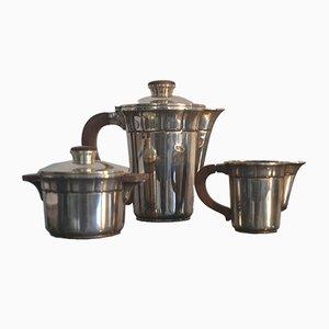 Französisches versilbertes Art Déco Kaffeeservice, 1930er, 3er Set