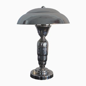 Art Deco Style French Chromed Table Lamp, 1940s