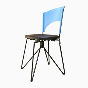 Italian Iron and Light Blue & Black Plastic Dining Chair by Carlo Bartoli for Bonaldo, 1980s
