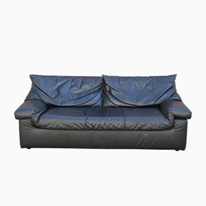 Vintage French Leather 3-Seater Sofa from Cinna, 1990s