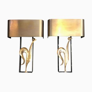 Vintage French Bronze and Steel Wall Lights, Set of 2