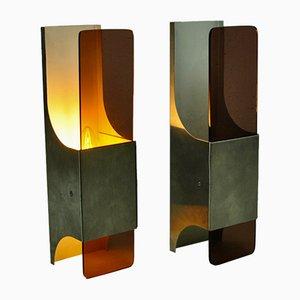 Wandleuchten aus Aluminium & Kristallglas von Raak, 1960er, 2er Set