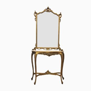 Consolle antica barocca dorata con specchio e mensola in marmo