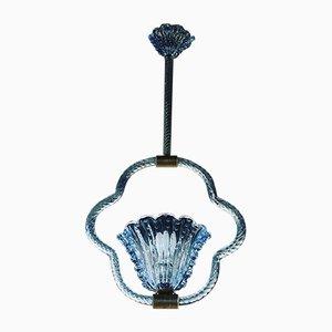 Blaue Vintage Deckenlampe von Barovier & Toso, 1950er