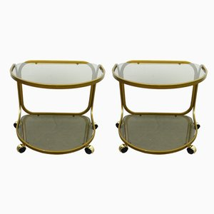 German Metal and Plastic Side Tables on Wheels, 1970s, Set of 2