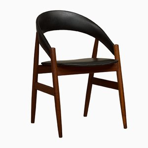 Mid-Century Teak & Black Leatherette Side Chair, 1960s