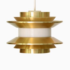 Swedish Golden Aluminum Trava Pendant Lamp by Carl Thore for Granhaga Metallindustri, 1970s