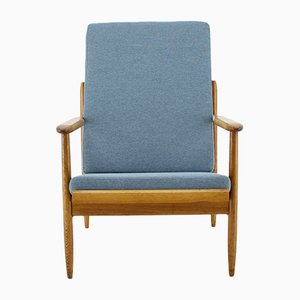 Mid-Century Czechoslovakian Fabric and Oak Armchair from ULUV, 1960s