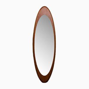 Großer ovaler italienischer Mid-Century Spiegel mit Rahmen aus Teak