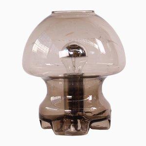 Lampada da tavolo a fungo in vetro fumé di Raak, anni '70